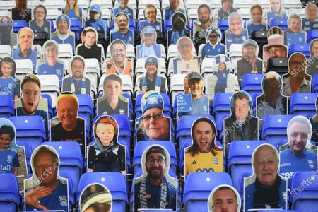 Cardboard cut out of Birmingham City fans.