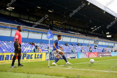 Jude Bellingham of Birmingham City takes a corner kick.