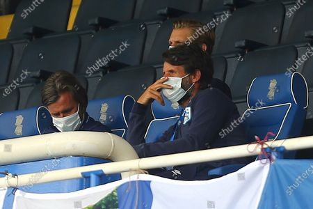 Huddersfield manager, Danny Cowley watches on in the stands
