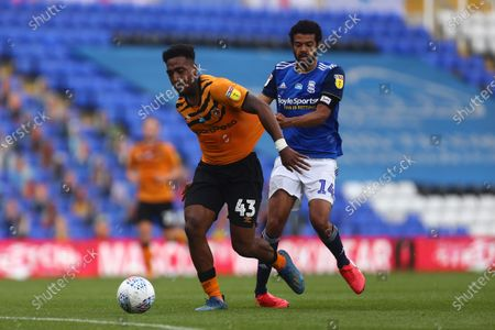 Hull's Mallik Wilks and Jake Clarke-Salter of Birmingham City