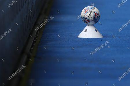 The EFL Mitre Delta match ball on a cone