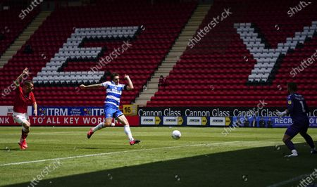 Jordan Hugill of QPR beats the offside trap but has his shot saved early in the second half