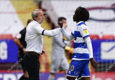 Manager Lee Bowyer of Charlton Athletic commiserates with Eberechi Eze of QPR at full time