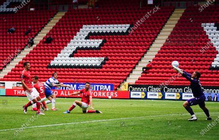 Jordan Hugill of QPR has this shot saved by Goalkeeper Dillon Phillips of Charlton Athletic