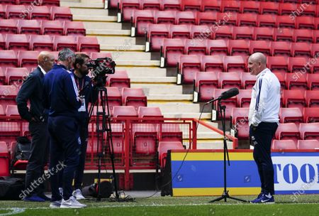 Mark Warburton - Manager of QPR is socially distanced interviewed by the club's media team