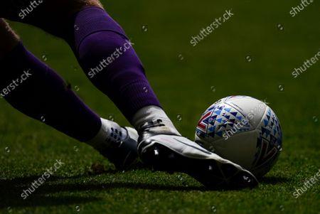 Goalkeeper Dillon Phillips of Charlton Athletic kicks the Mitre match ball