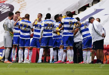 Mark Warburton - Manager of QPR instructs his players during the first half drinks break