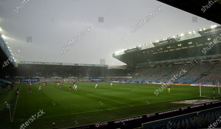 Heavy rain falls during the game