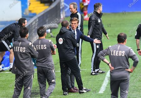 Fulham Manager Scott Parker makes a point to the fourth official