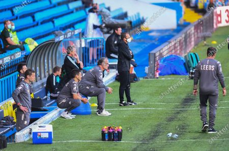 Marcelo Bielsa Manager of Leeds United watches from the technical area