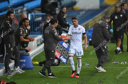 After coming on as a substitute Pablo Hernandez of Leeds United is substituted by Jamie Shackleton of before full time