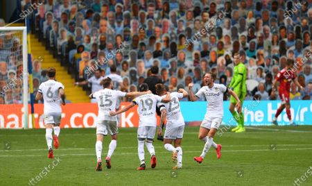 Stock Photo of Leeds United celebrate their third goal scored by Jack Harrison