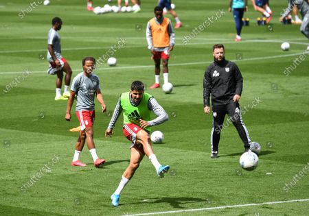 Aleksander Mitrovic of Fulham takes a shot in the warm up