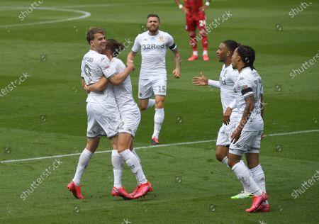 Patrick Bamford of Leeds United celebrates scoring his side's first goal