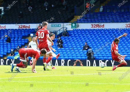 Ezgjan Alioski of Leeds United scores a goal to make it 2-0
