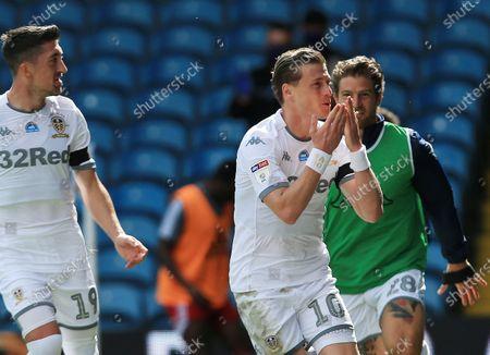 Ezgjan Alioski of Leeds United celebrates scoring a goal to make it 2-0