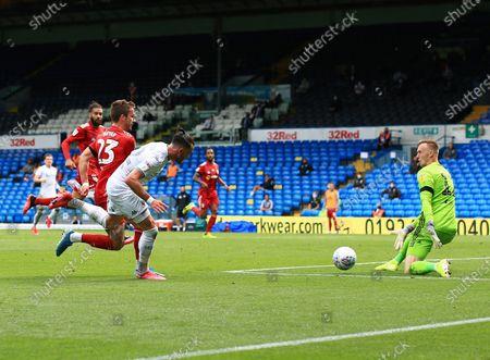Jack Harrison of Leeds United scores a goal to make it 3-0