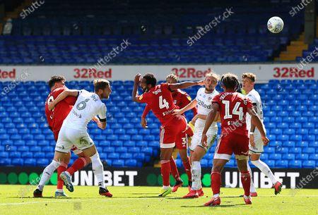 Aleksander Mitrovic of Fulham heads his shot wide