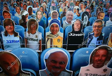 Cardboard cut outs of Leeds United fans