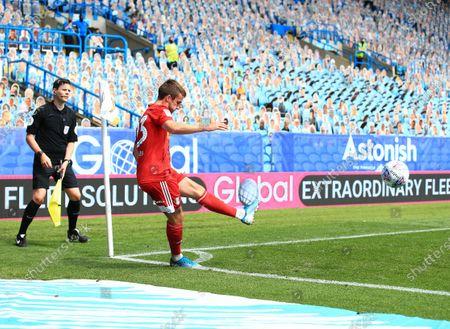 Joe Bryan of Fulham takes a corner kick