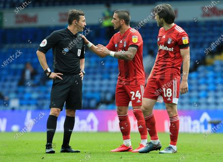 Anthony Knockaert of Fulham and Referee Mr Tony Harrington