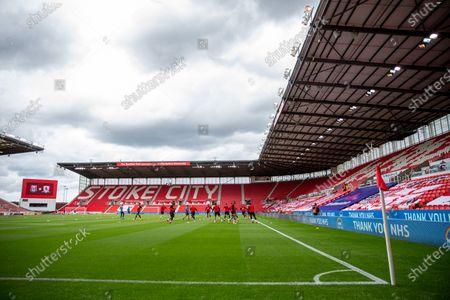 Bet365 Stadium, Stoke, Staffordshire, England; Middlesbrough warm up in an empty stadium; English Championship Football, Stoke City versus Middlesbrough.