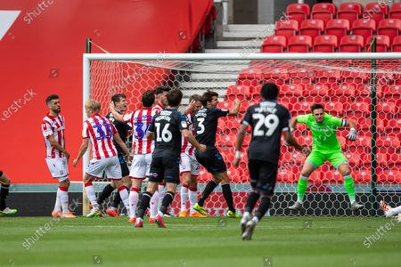 Bet365 Stadium, Stoke, Staffordshire, England; Ashley Fletcher of Middlesbrough scores his goal for 0; English Championship Football, Stoke City versus Middlesbrough.