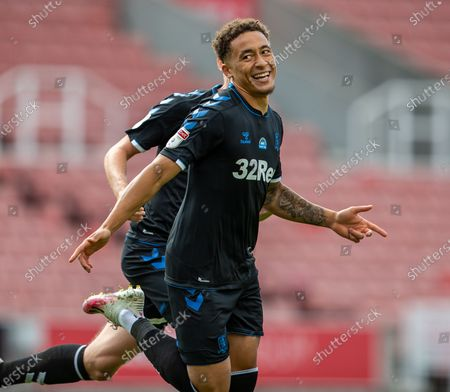 Bet365 Stadium, Stoke, Staffordshire, England; Marcus Tavernier of Middlesbrough celebrates his 62 minute goal for 0; English Championship Football, Stoke City versus Middlesbrough.
