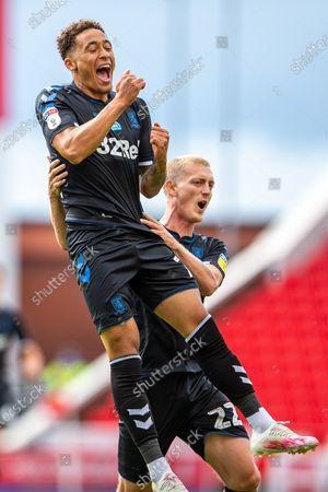 Bet365 Stadium, Stoke, Staffordshire, England; Marcus Tavernier of Middlesbrough celebrates his 62 minnute goal for 0; English Championship Football, Stoke City versus Middlesbrough.