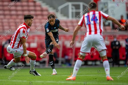 Bet365 Stadium, Stoke, Staffordshire, England; Marcus Tavernier of Middlesbrough shoots and scores a goal in the 62 minute to put Middlesbrough ahead 0; English Championship Football, Stoke City versus Middlesbrough.