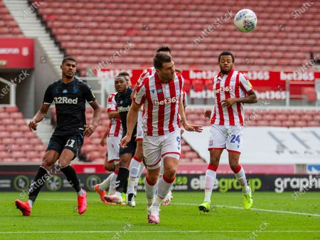 Bet365 Stadium, Stoke, Staffordshire, England; Sam Vokes of Stoke City heads the ball clear from his box; English Championship Football, Stoke City versus Middlesbrough.