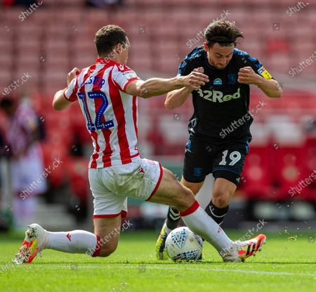 Bet365 Stadium, Stoke, Staffordshire, England; Patrick Roberts of Middlesbrough is tackled by James Chester of Stoke City; English Championship Football, Stoke City versus Middlesbrough.
