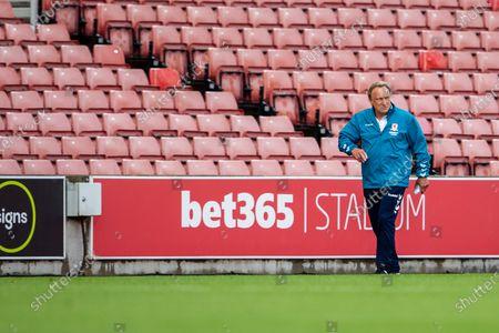 Bet365 Stadium, Stoke, Staffordshire, England; New manager of Middlesborough Neil Warnock walks into the stadium; English Championship Football, Stoke City versus Middlesbrough.