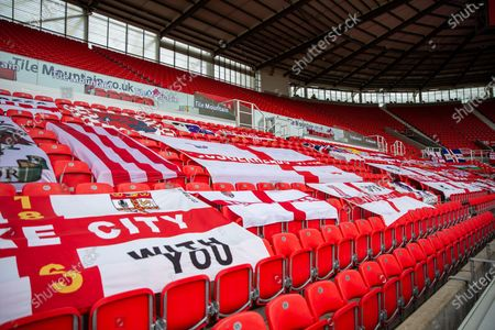 Bet365 Stadium, Stoke, Staffordshire, England; Fans flags fill the stands; English Championship Football, Stoke City versus Middlesbrough.