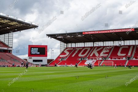 Bet365 Stadium, Stoke, Staffordshire, England; Players take a knee for BLM pre start; English Championship Football, Stoke City versus Middlesbrough.
