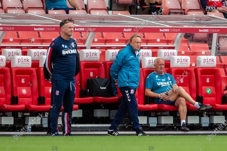 Bet365 Stadium, Stoke, Staffordshire, England; Middlesborough Manager Neil Warnock watches the game from the team dugout; English Championship Football, Stoke City versus Middlesbrough.
