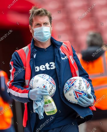 Bet365 Stadium, Stoke, Staffordshire, England; Balls are cleaned pre match; English Championship Football, Stoke City versus Middlesbrough.