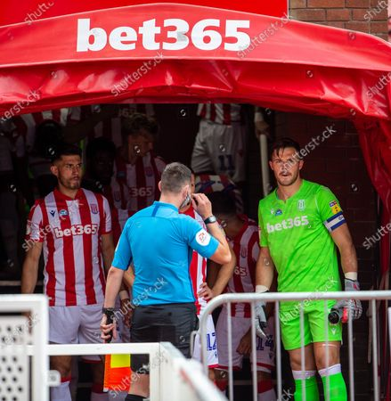 Bet365 Stadium, Stoke, Staffordshire, England; A pensive looking Jack Butland of Stoke City as the teams line up; English Championship Football, Stoke City versus Middlesbrough.