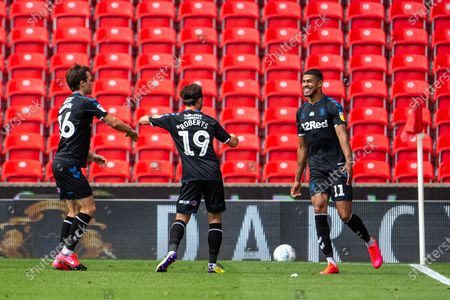 Bet365 Stadium, Stoke, Staffordshire, England; Ashley Fletcher of Middlesbrough celebrates his 29th minute goal; English Championship Football, Stoke City versus Middlesbrough.