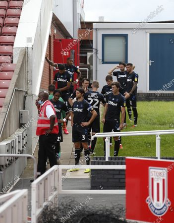 Middlesbrough wait to enter the field