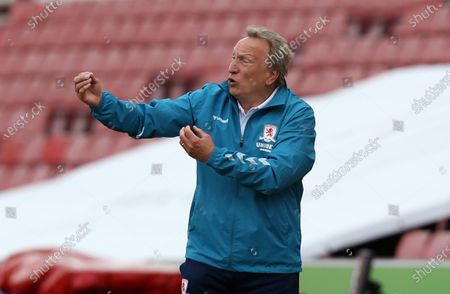 Middlesbrough Manager, Neil Warnock gives instruction