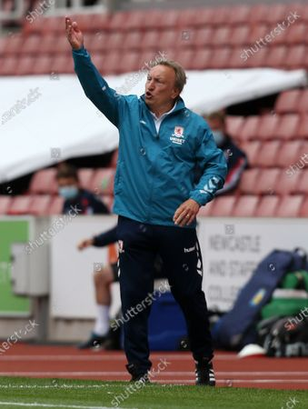 Middlesbrough Manager, Neil Warnock gives instructions