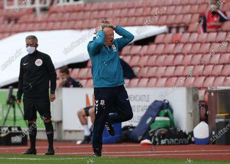 Middlesbrough Manager, Neil Warnockshows frustration