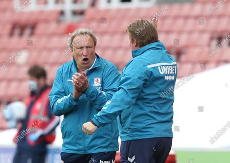 Middlesbrough Manager, Neil Warnock celebrates the second goal