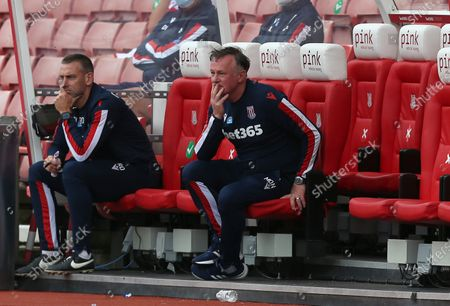 Stoke City's Manager Michael O'Neill cuts a dejected figure