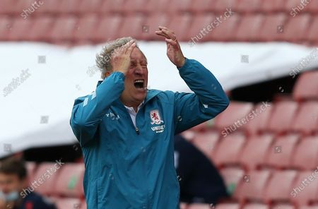 Middlesbrough Manager, Neil Warnock shows frustration
