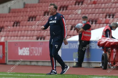 Stoke City's Manager Michael O'Neill shows frustration
