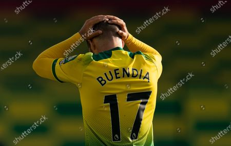 Emiliano Buendia of Norwich City reacts after failing to score