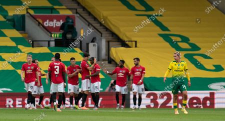 Todd Cantwell of Norwich City looks dejected after the goal by Odion Ighalo of Manchester United, 0-1