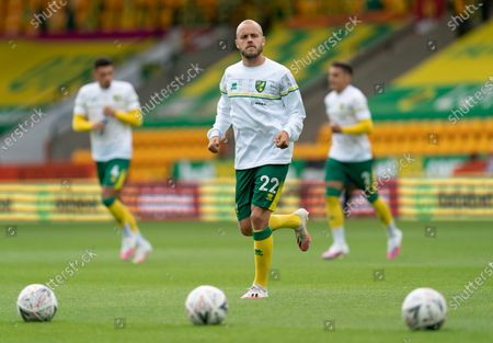 Teemu Pukki of Norwich City warms-up before the match